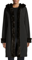 Jane Post Hooded Faux-Fur-Trim Jacket, Black/Brown