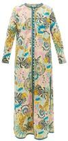 Le Sirenuse Le Sirenuse, Positano - Cappa Psycho-print Cotton Maxi Dress - Womens - Yellow Multi