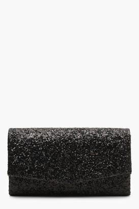 boohoo Structured Glitter Envelope Clutch Bag With Chain