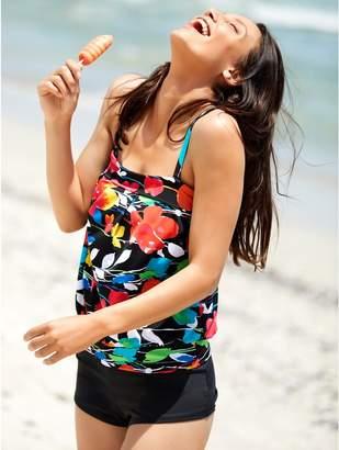 M&Co Floral print blouson multiway tankini top