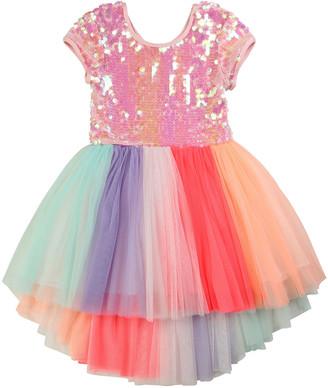 Billieblush Girl's Sequin-Bodice Multicolored Tulle Dress, Size 4-10