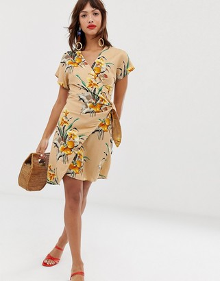 And other stories & linen blend wrap mini dress in tropical flower print-Multi