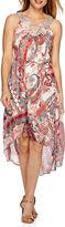 Studio 1 Sleeveless Embellished Neck Woven High-Low Hem Belted Dress