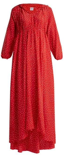 Vetements Polka Dot And Emjoi Print Hooded Silk Dress - Womens - Red Print