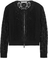 Diane von Furstenberg Jessica Paneled Crocheted Lace And Jersey Jacket