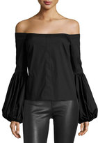 Caroline Constas Giselle Off-the-Shoulder Poplin Blouse, Black