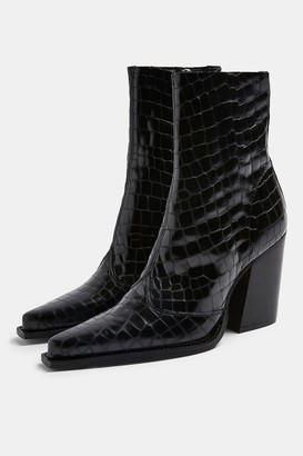 Topshop Womens Hungary Black Crocodile Leather Western Boots - Black