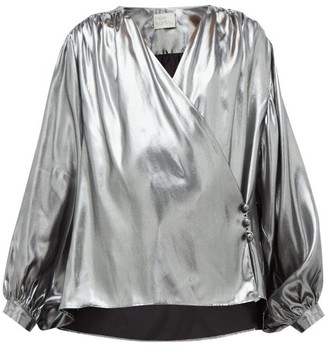 Hillier Bartley Wrap-front Silk-lame Blouse - Silver