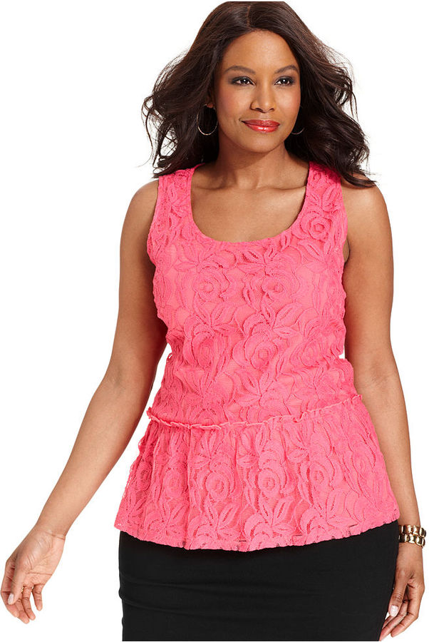 Alfani Plus Size Top, Sleeveless Lace Peplum