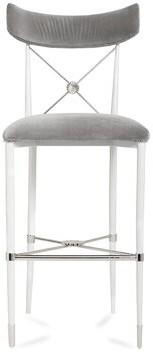 """Jonathan Adler Rider Counter 26"""" Bar Stool Base Color: White, Upholstery: Gray"""