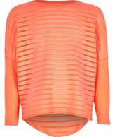 River Island Girls coral ribbed slouchy top