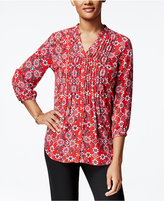 Charter Club Petite Floral-Print Pintucked Shirt, Only at Macy's