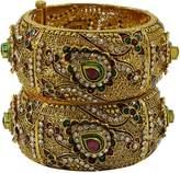 Matra Traditional Indian Goldtone Designer CZ Screw Lock Kada Bracelet Bangle Jewelry