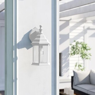"Three Posts Oakford 1 - Bulb 12"" H Outdoor Wall Lantern Fixture Finish: Matte White"
