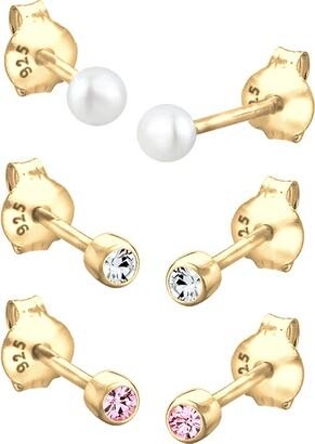 Elli Women's 925 Sterling Silver Xilion Cut Round Chinese Freshwater Cultured Swarovski Crystal Stud Earrings