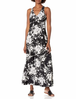 Gabby Skye Women's Sleeveless Floral Print Crochet Back ITY Maxi Dress