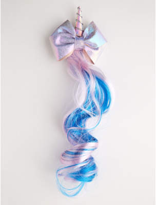 George Purple Iridescent Unicorn Bow Fake Hair Clip