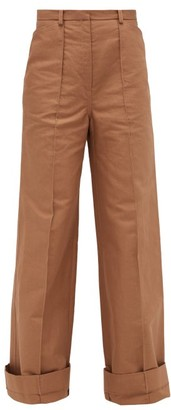Lemaire Pintucked Cotton-blend Canvas Flared Trousers - Light Brown