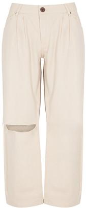One Teaspoon Oneteaspoon Smiths Off-white Wide Leg Jeans