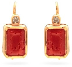 Dezso Deco Diamond, Coral & 18kt Gold Drop Earrings - Orange Multi