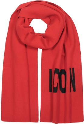 DSQUARED2 Woven Icon Logo Wool Knit Scarf
