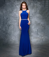 Royal Blue Fitted Halter Low Back Gown