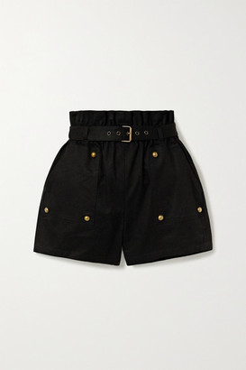 Saint Laurent Belted Cotton And Ramie-blend Twill Shorts - Black