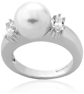 Majorica Tu Y Yo 09098.01.2.917.700.1 High Lustre White 10.0 mm Round Mallorca Cultured Pearl Sterling Silver 926 Ring Size Q 1/2