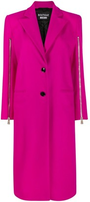 Boutique Moschino Zip-Sleeve Fitted Coat