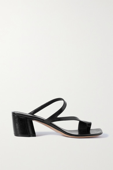 Thumbnail for your product : Dries Van Noten Lizard-effect Leather Sandals - Black