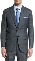 Brioni Birdseye Plaid Two-Button Wool Suit, Gray