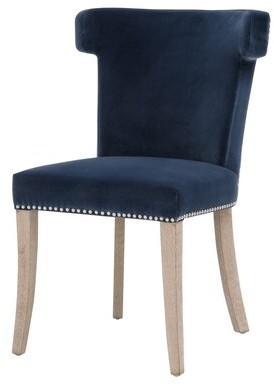 House of Hampton Malm Cotton Upholstered Parsons Chair in Denim