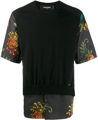 DSQUARED2 floral sleeve T-shirt
