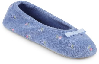 Isotoner Women's Floral Embroidered Ballerina Slippers