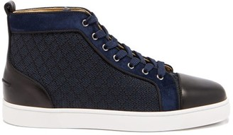 Christian Louboutin Louis Orlato Leather-trimmed High-top Trainers - Navy Multi