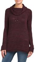 Drawstring Cowl Neck Tunic Sweater