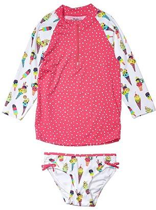 Hatley Cool Treats Rashguard Set (Toddler/Little Kids/Big Kids) (White) Girl's Swimwear Sets