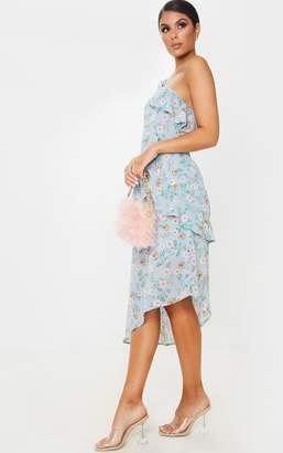 PrettyLittleThing Dusty Blue Floral Print Chiffon One Shoulder Midi Dress