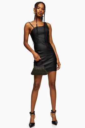 Topshop Womens Black Coated Joni Asymmetric Bodycon Dress - Black