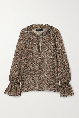 Nili Lotan Royan Tie-detailed Floral-print Silk-georgette Blouse - Brown