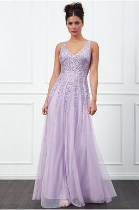 Goddiva Sunray Lavender Sequin Maxi Dress