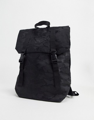 Asos DESIGN backpack in black camo with double straps