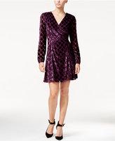 Betsey Johnson Velvet Dot-Print Wrap Dress