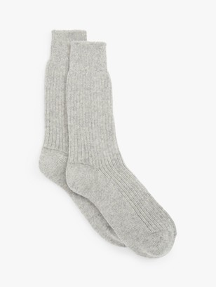 John Lewis & Partners Cashmere Bed Ankle Socks, Grey