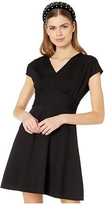 Kate Spade V-Neck Ponte Dress (Black) Women's Dress