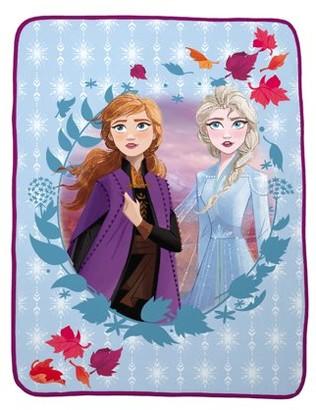 "Disney Frozen Disney's Frozen 2 Plush Kids Blue Throw, 46"" x 60"", Elsa & Anna"