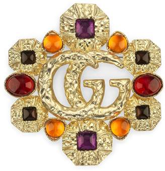 Gucci Double G brooch with cabochon stones
