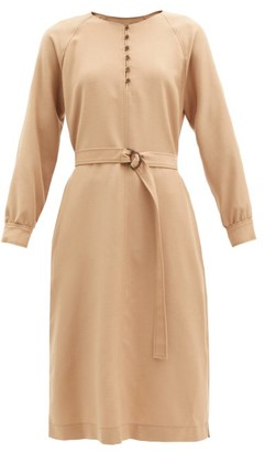 A.P.C. Nicolette Belted Wool-flannel Dress - Camel