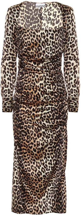 Ganni Leopard-print stretch silk-satin midi dress
