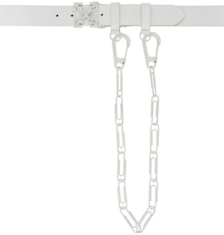 Off-White White Leather Chain Belt